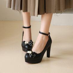 Kireina - 厚底粗跟蝴蝶結裝飾鞋