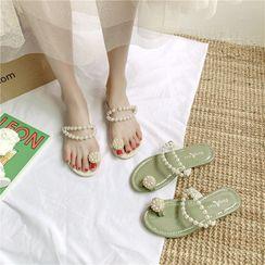 Putcho - Faux Pearl Toe-Ring Slide Sandals