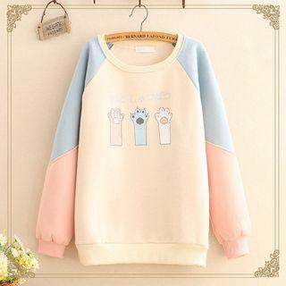 Kawaii Fairyland - Color-Block Sleeve Paw Print Fleece-Lined Sweatshirt