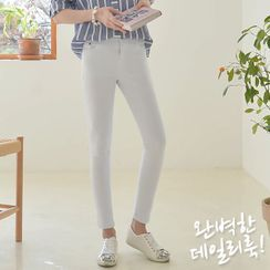 Seoul Fashion - Band-Waist Skinny Pants