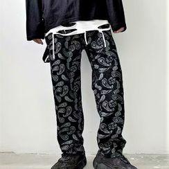 Odin King - 佩斯利圖案印花直筒牛仔褲