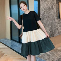 Hiccup - Maternity Short-Sleeve Color Block Shift Dress