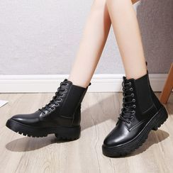 Vindler - Lace-Up Platform Short Boots