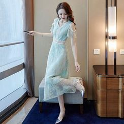 Tanzil - Cold-Shoulder Midi Lace Dress