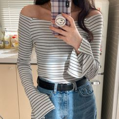 MERONGSHOP - Off-Shoulder Slit-Cuff Stripe T-Shirt