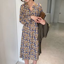 A7 SEVEN - Flower Print Long-Sleeve Midi Shift Dress