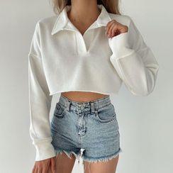 Eunostos - Long Sleeve Crop Polo Shirt