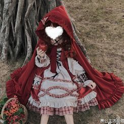 GOGO Girl - Hooded Cape / Lace Trim Headband / Plaid Apron / Contrast Trim Cape