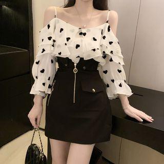 OGAWA - Heart Printed Layered Off-Shoulder Blouse / High-Waist Zipped Skirt