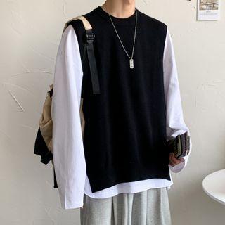 Diphon - 純色針織馬甲/純色長袖襯衫/T裇