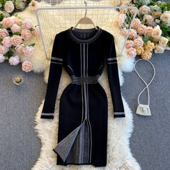 Lucuna - 長袖配色飾縫線針織連衣中裙