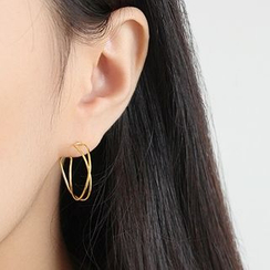 Phoenoa - 925纯银线艺开口圈环耳环