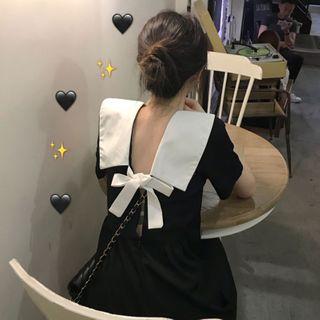Guromo - Bow Back Short-Sleeve Midi Shift Dress