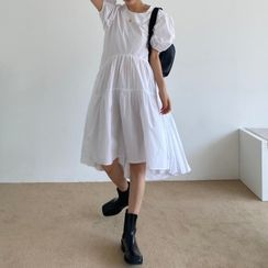 Czarine - 圆领泡泡袖娃娃连衣裙
