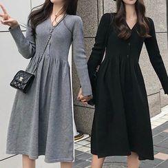 Doyle - V-Neck Buttoned A-Line Knit Dress