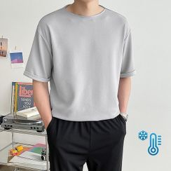 Seoul Homme - Cuff-Sleeve Textured T-Shirt