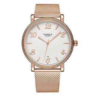 YAZOLE - 情侣款不锈钢带式手表