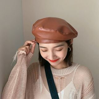 FROME - Faux Leather Beret Hat