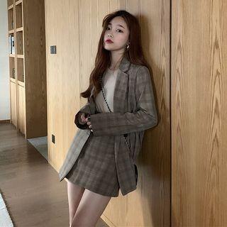 Kukaro - Plaid Button Blazer / Mini Plaid A-Line Skirt / Long-Sleeve Top