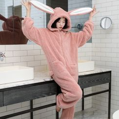 Cinni - Long-Sleeve Rabbit Ear Hooded Fleece Pajama Jumpsuit