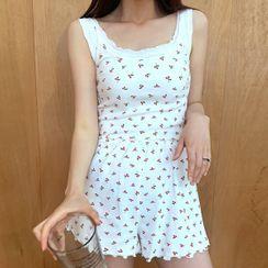 chuu - Cherry Pattern Cami & Shorts Loungewear Set