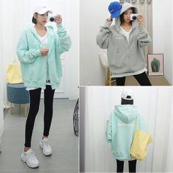 Seoul Fashion - Kangaroo-Pocket Pastel Zip Hoodie