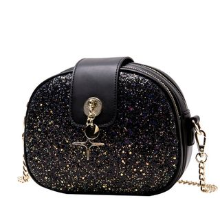 BeiBaoBao - Glitter Faux Leather Crossbody Bag