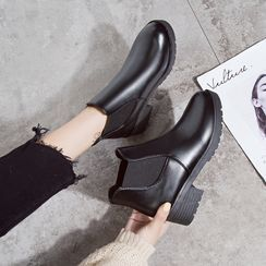 BARCA - Faux Leather Block-Heel Ankle Boots