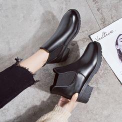 BARCA - Faux Leather Platform Block-Heel Ankle Boots