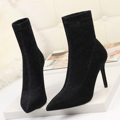 Beatrix - Pointy-Toe Stiletto Heel Short Boots