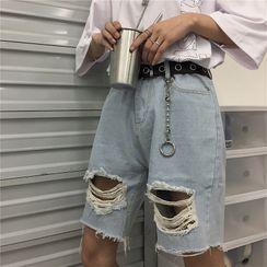 INStudio - 破洞牛仔短裤
