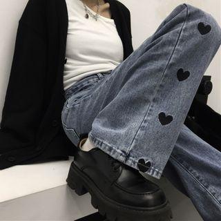 INStudio - 心心刺繡直筒牛仔褲