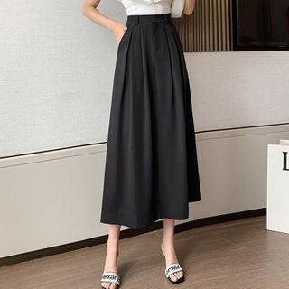 Yumerakka - High-Waist Plain Midi A-Line Skirt