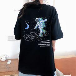 Cloud Nine - Elbow-Sleeve Astronaut Print T-Shirt
