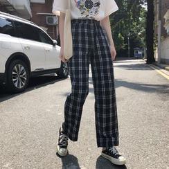 Moon City - Plaid Straight Fit Pants