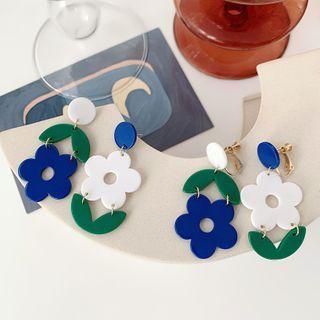 Admae - Asymmetrical Acrylic Flower Drop Earring