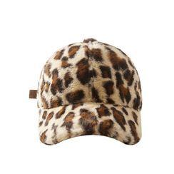 HARPY - Leopard Print Faux Fur Baseball Cap