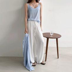 PPGIRL - Set: Drop-Shoulder Textured Shirt + Spaghetti-Strap Camisole Top