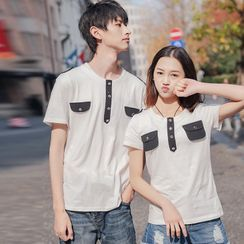 Igsoo - Couple Matching Set: Short-Sleeve Buttoned T-Shirt