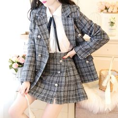 Cynderdolly - Bow Blouse / Double-Breasted Plaid Blazer / Mini A-Line Skirt / Set