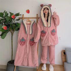 Astarte - Strawberry Hooded Fleece Pajama Robe / Fleece Top / Pants / Set