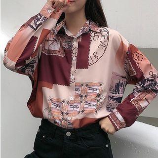 KAKAGA - Long-Sleeve Print Loose-Fit Shirt