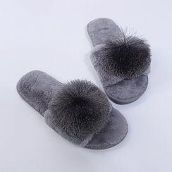 GRUNE - 毛毛球拖鞋