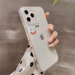 kloudkase - 笑脸印花透明手机保护套 - iPhone 12 Pro Max / 12 Pro / 12 / 12 mini / 11 Pro Max / 11 Pro / 11 / SE / XS Max / XS / XR / X / SE 2 / 8 / 8 Plus / 7 / 7 Plus