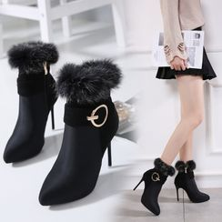 Niuna - Furry Trim High-Heel Short Boots