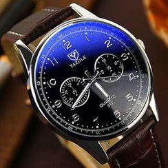 YAZOLE - Faux Leather Strap Watch