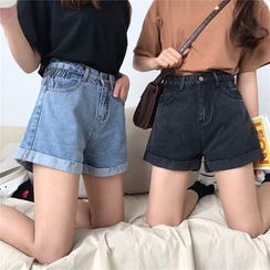 Moon City - High Waist Denim Shorts