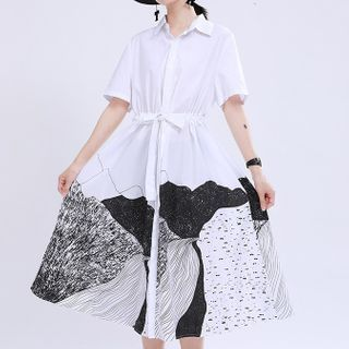 Ultra Modern - Short-Sleeve Printed Tie-Waist Midi Shirtdress