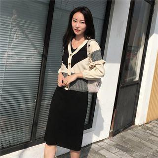 Sienne - Long-Sleeve Frill-Trim Color Block Knit Cardigan