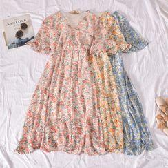 Dudu - Short-Sleeve Floral Print Midi A-Line Dress
